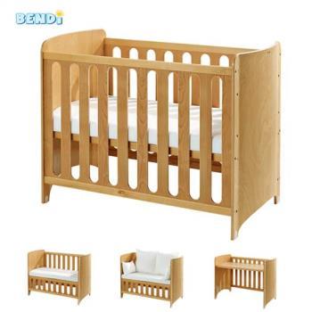 Bendi i-Lu wood櫸木多功能嬰兒床-大床優惠組(床組+獨立筒床墊+床圍+蚊帳)