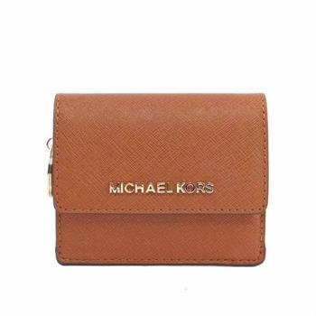 MICHAEL KORS 素面皮革萬用小夾(焦糖) 35F7GTVD2L LUGGAGE