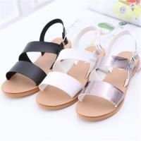 ZUCCA【z6326】日系雙橫紋扣環涼鞋-黑色/白色/灰色