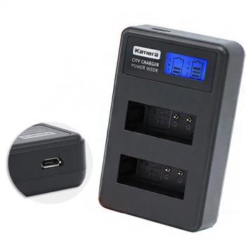 Kamera佳美能 液晶雙槽充電器 for Canon LP-E12 (一次充兩顆電池) 行動電源也能充
