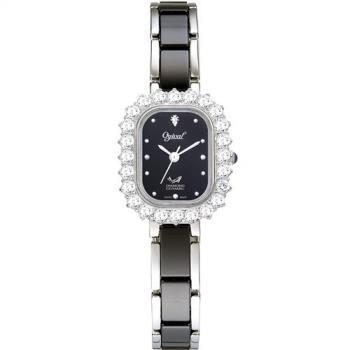 Ogival 愛其華-輕華麗薔薇時尚陶瓷真鑽腕錶(氣質黑)320-03DLW
