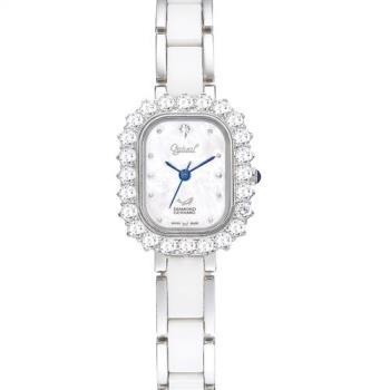 Ogival 愛其華-輕華麗薔薇時尚陶瓷真鑽腕錶(名媛白)320-03DLW