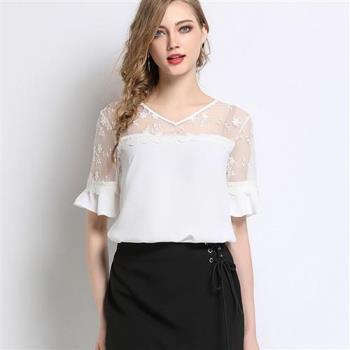 麗質達人 - 5771白色蕾絲拼接上衣