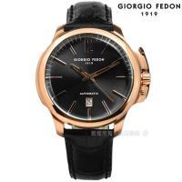 GIORGIO FEDON 1919 / GFCE003 / 自動上鍊 藍寶石塗層玻璃 精工機芯 機械錶 真皮手錶 深灰x玫瑰金框x黑 46mm