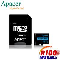 Apacer宇瞻 64GB MicroSDXC UHS-I U3 V30 100MB 4K記憶卡