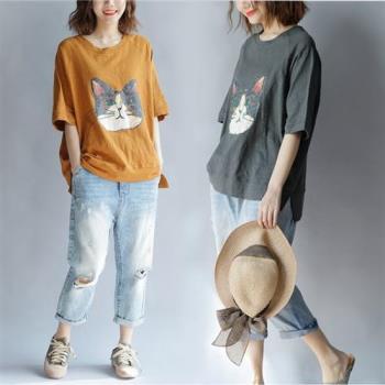 Keer-大頭貓咪印花五分袖落肩T恤-F(共二色)