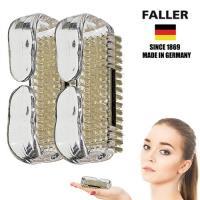 【德國FALLER芙樂梳具刷具】德國製白豚鬃手部雙足清潔按摩刷  (兩入組)