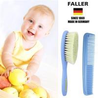 【德國FALLER芙樂梳具刷具】山羊 溫和 寶寶 嬰兒用髮梳加齒梳 (清爽淡藍色套裝)