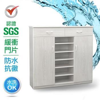 IHouse-SGS 防潮抗蟲蛀緩衝塑鋼二門二抽半開放置物鞋櫃(寬123.5深33.5高117CM)