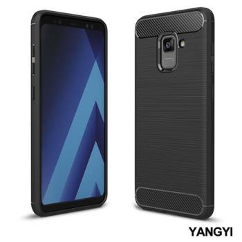 YANGYI揚邑-Samsung Galaxy A8+ 2018 6吋 碳纖維拉絲紋軟殼散熱防震抗摔手機殼