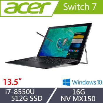 Acer宏碁 Switch 7 觸控獨顯效能筆電SW713-51GNP-80B2 13.5吋/i7-8550U/16G/512G/NV MX150