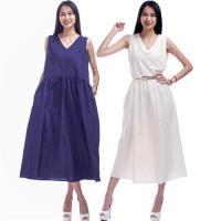 RH亞麻清涼感氣質寬鬆背心式連身洋裝2件組