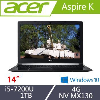 Acer宏碁 Aspire K 效能筆電 K50-30-57JY 15吋/i5-7200U/4G/1T/NV MX130
