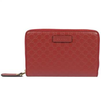 GUCCI 449423 經典雙G緹花全皮革壓紋拉鍊中夾.紅