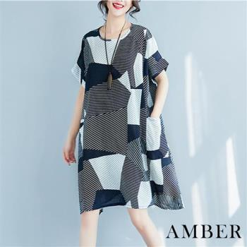 Amber-日韓棉麻幾何造型圓領連衣裙-,
