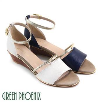 GREEN PHOENIX 一字金屬編織壓紋全真皮繞踝楔型涼鞋U50-29342