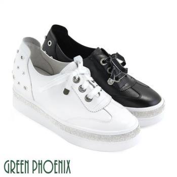 GREEN PHOENIX 國際精品釘珠施華洛世奇水鑽金蔥緞面綁帶義大利羊皮厚底休閒鞋U28-2H614