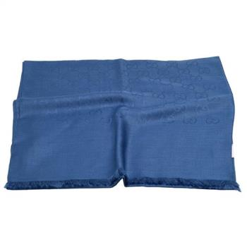 GUCCI 經典GG緹花雙色羊毛混絲流蘇圍巾/披肩(180X45-皇家藍)
