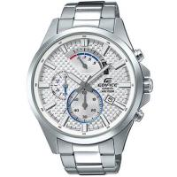 CASIO EDIFICE 逆跳格紋錶盤大型指針三眼計時男錶(白)_EFV-530D-7A