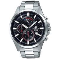 CASIO EDIFICE 逆跳格紋錶盤大型指針三眼計時男錶(黑)_EFV-530D-1A
