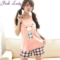 PINK LADY 拼布小貓居家棉柔成套睡衣8011(蜜桃)