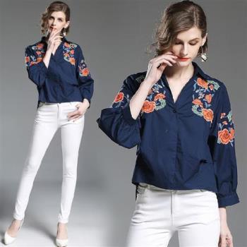 M2M 重工花朵刺繡襯衫風上衣-S-XL