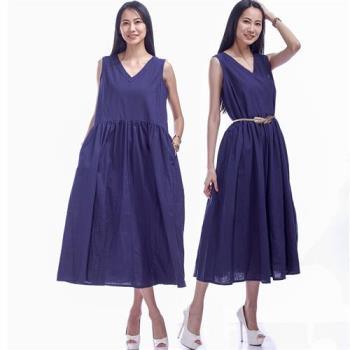 ARH亞麻清涼感氣質寬鬆背心式連身洋裝(藍)