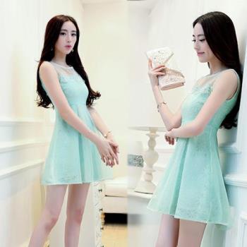 韓國K.W.特公主風歐根纱拼接雪紡蕾絲連衣裙