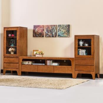 Bernice-森克8.4尺全實木收納電視櫃組合(柚木色)
