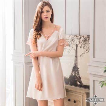 大尺碼Annabery 韓版甜美居家短袖連身睡衣(白色)