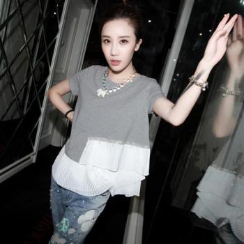 A3 韓版潮流百褶鑽飾棉質上衣