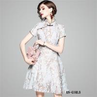 RN-girls-精品復古立體花旗袍領短袖洋裝小禮服