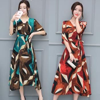 SCL幾何印花中長連身裙洋裝 M~XL