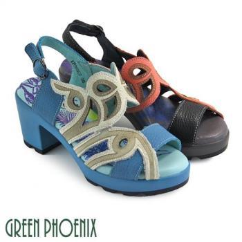 GREEN PHOENIX 繽紛色彩鏤空圖騰扣環手縫全真皮粗跟氣墊涼鞋U51-2P005
