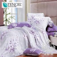 AGAPE亞加‧貝 獨家私花-奼紫嫣紅 天絲 雙人特大6x7尺四件式兩用被套床包組