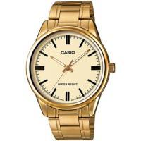CASIO 金色經典簡約大方男錶-黃面(MTP-V005G-9A)