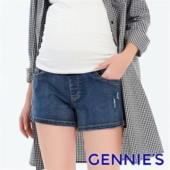 Gennies奇妮-微破損感撞色孕婦牛仔短褲-牛仔藍(T4F03)