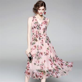 RN-girls-精品波希米亞雪紡飄逸無袖長洋裝