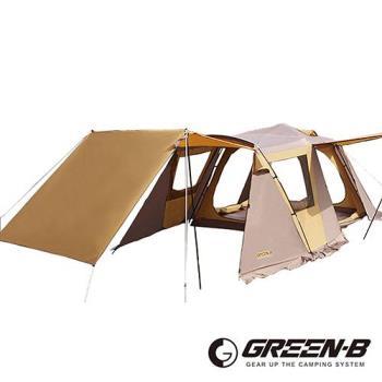 GREEN-B 頂級豪華透氣窗家庭式雙層速搭自動帳篷 7-8人