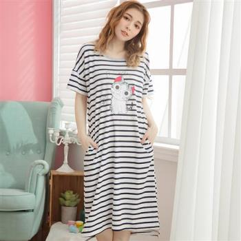 lingling日系 牛奶絲貓咪前短後長連身裙睡衣(全尺碼)