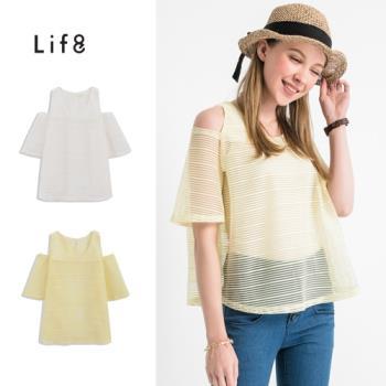 Life8-粉嫩馬卡龍。甜美透視感挖肩上衣-53010