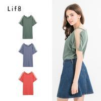 Life8-透視網紗拼接袖棉質上衣-女-53056