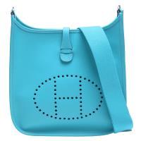 HERMES Evelyne系列Epsom牛皮鏤空洞洞H LOGO肩背包(環礁藍)