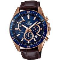 CASIO EDIFICE 疾速迅雷三眼賽車男錶-IP藍框/藍(EFR-552GL-2A)