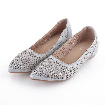 88%內增高娃娃鞋-簍空雕花金蔥裸色皮革水鑽尖頭包鞋隱形3CM跟鞋