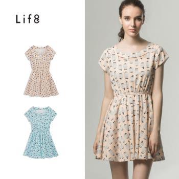 Life8-甜美圓領鏤空小鳥微包袖縮腰洋裝-女-51251