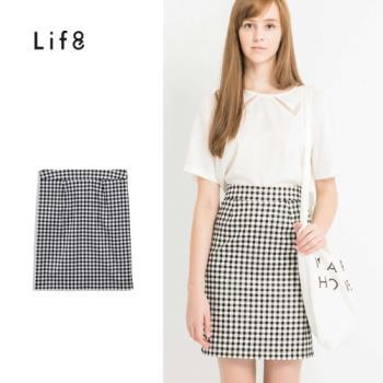Life8-知性格紋打摺及膝窄裙-52264