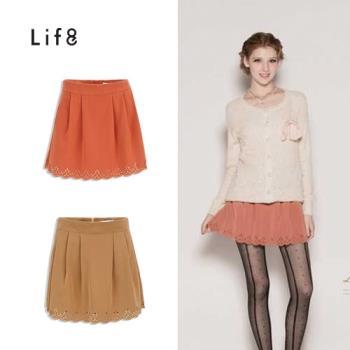 Life8-鏤空蕾絲雕花下擺抓摺A字裙-女-52063