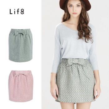 Life8-打摺蝴蝶結毛呢混色亮線格紋裙-女-52118