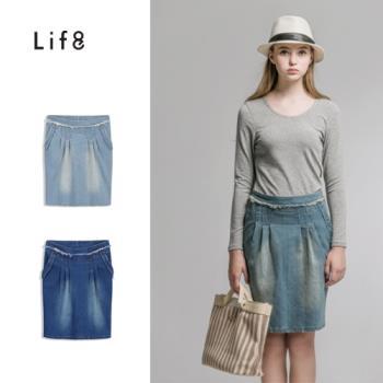 Life8-腰頭抽鬚打摺中長裙-女-52202